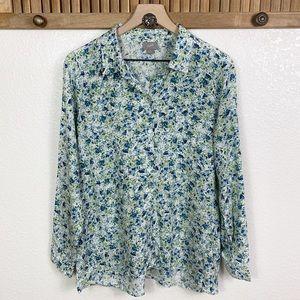 J. Jill Blue Floral Button Up Long Sleeve Top